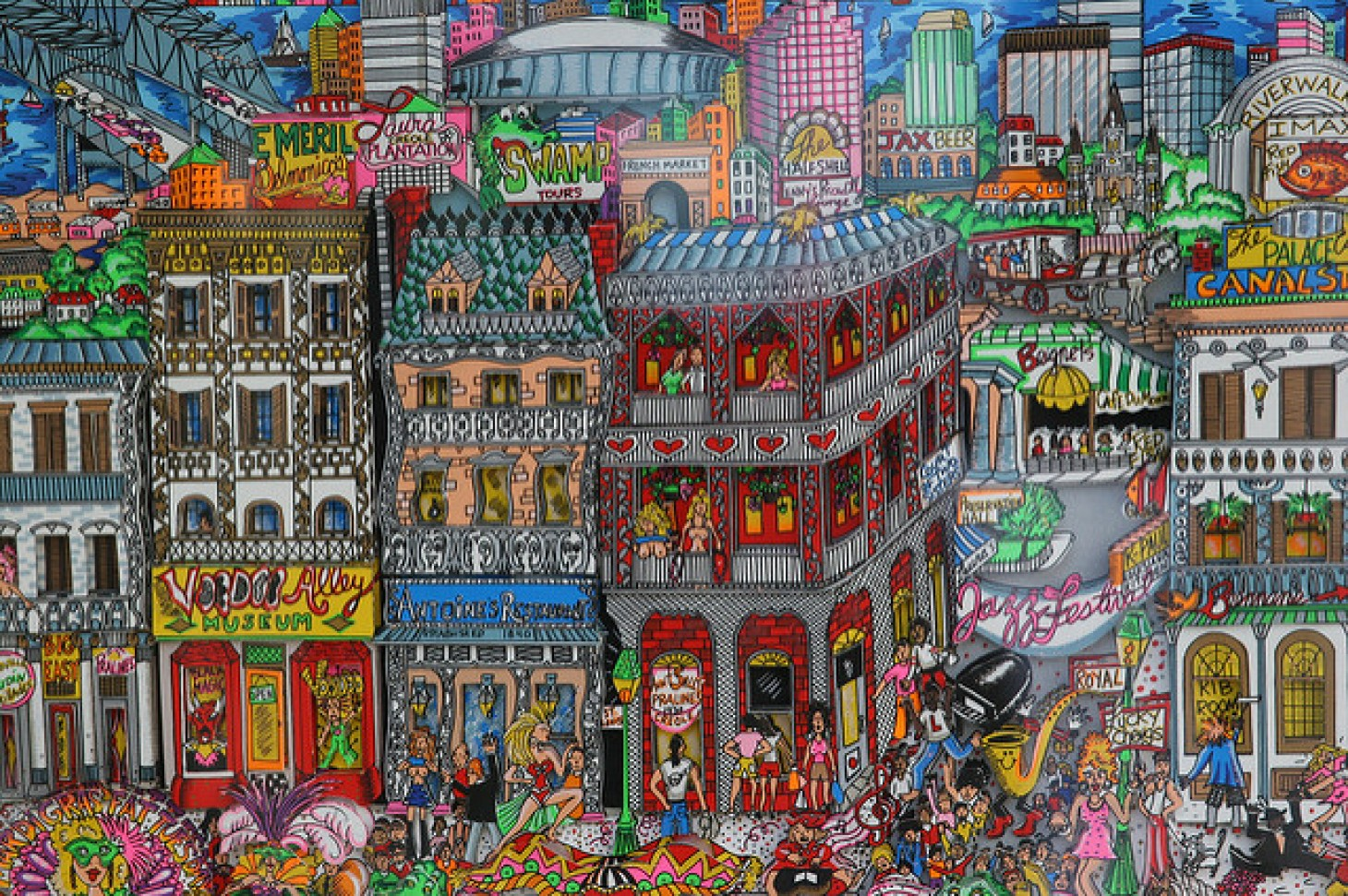 A painting depicting downtown New Orleans and its vibrant culture.